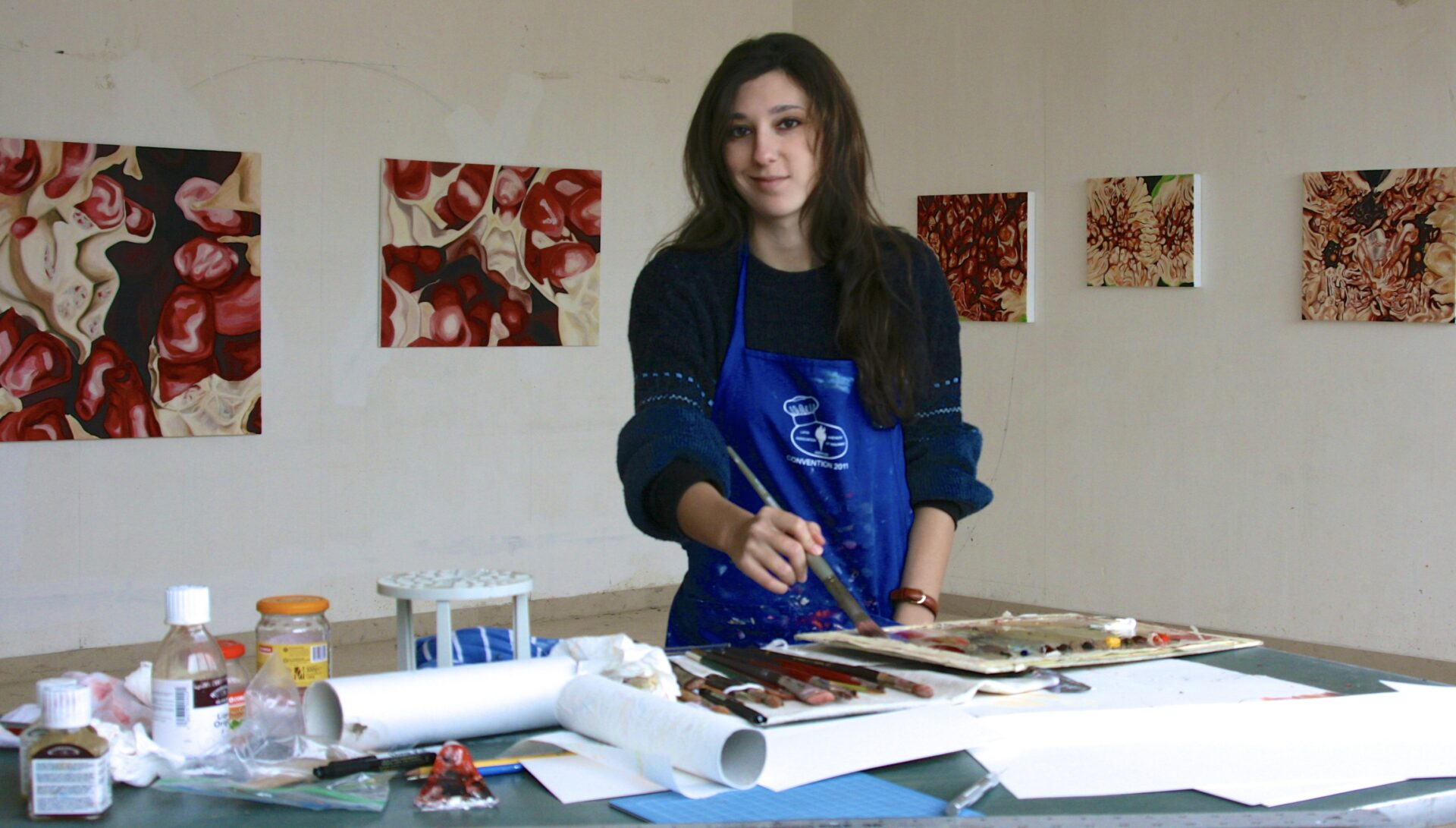 Angela Faustina in her studio at the MIRA Artist Residency, 2011.