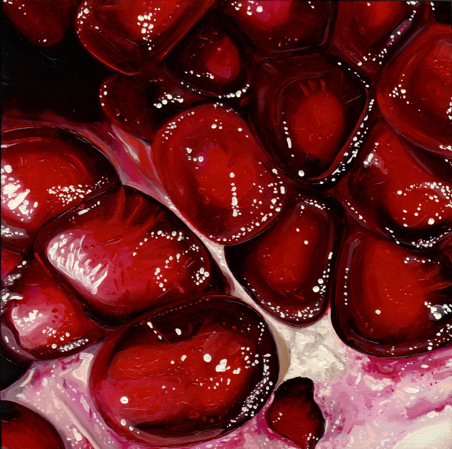 "Angela Faustina, Pomegranate XXVII, 2016. Oil on cradled painting panel, 8"" by 8"". Available for purchase through Gallery43, Roswell, GA."