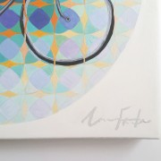 """painting detail: Angela Faustina, Trip, 2014. Oil on cradled painting panel, 15"""" by 15""""."""