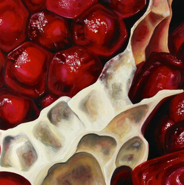 """Angela Faustina, Pomegranate XIII, 2014-2015. Oil on canvas, 12"""" by 12""""."""