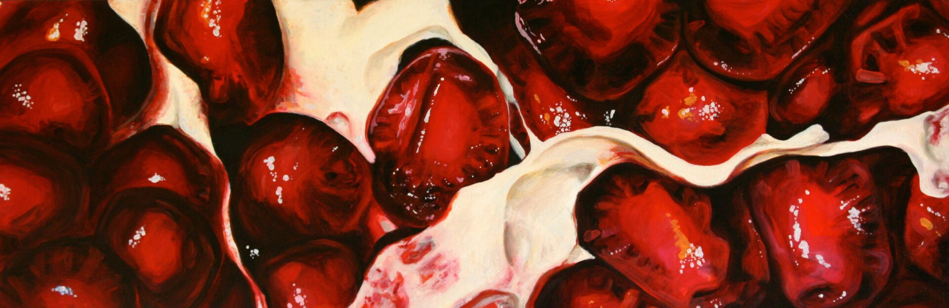 """Angela Faustina, Pomegranate XIV, 2014-2015. Oil on canvas, 36"""" by 12"""". Private collection."""