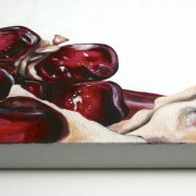 """painting detail of: Angela Faustina, Pomegranate X, 2012 - 2013. Oil on canvas, 24"""" by 20""""."""