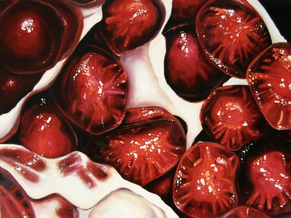 "Angela Faustina, Pomegranate XXIII, 2015. Oil on cradled painting panel, 24"" by 18""."