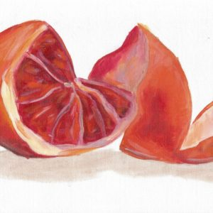 "Angela Faustina, Blood orange study, 2015. Oil on unstretched canvas, 12"" by 9""."