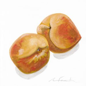 "Angela Faustina, Georgia peaches study, 2016. Watercolor on paper, 6"" by 6""."