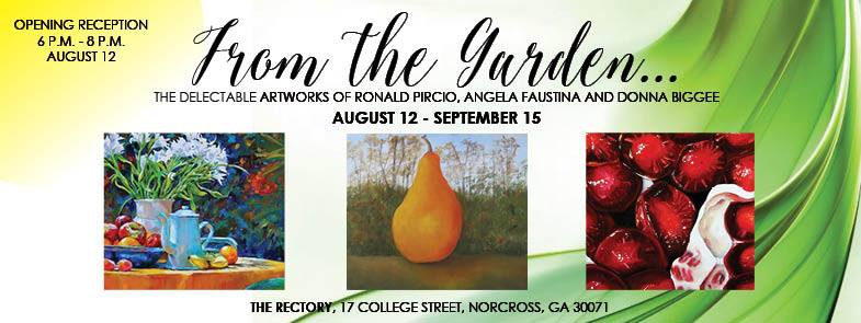 From the Garden art exhibition ad featuring fruit portrait paintings by Angela Faustina