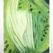 "Angela Faustina, Kiwi study, 2015. Oil on canvas paper, 12"" by 16""."