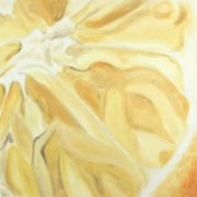 "Angela Faustina, Lemon study, 2015. Oil on unstretched canvas, 12"" by 12""."