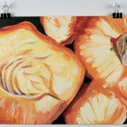 "Angela Faustina, Georgia peaches study, 2016. Oil on canvas panel, 12"" by 9""."
