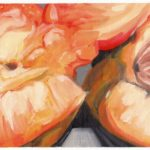 """Angela Faustina, Georgia peaches study, 2016. Oil paint on canvas paper, 12"""" by 6""""."""