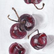 """Angela Faustina, Cherries study, 2016. Oil on canvas panel, 5"""" by 7""""."""