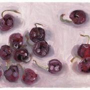 """Angela Faustina, Cherries study, 2016. Oil on canvas paper, 10.75"""" by 8""""."""