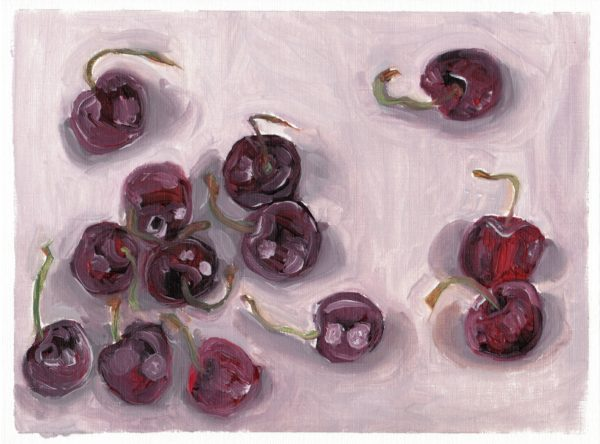"Angela Faustina, Cherries study, 2016. Oil on canvas paper, 10.75"" by 8""."