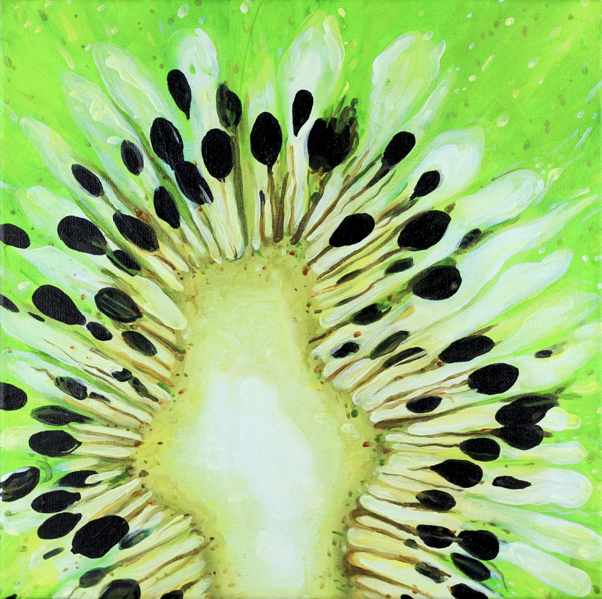"Angela Faustina, Kiwi II, 2016. Oil on canvas, 12"" by 12""."