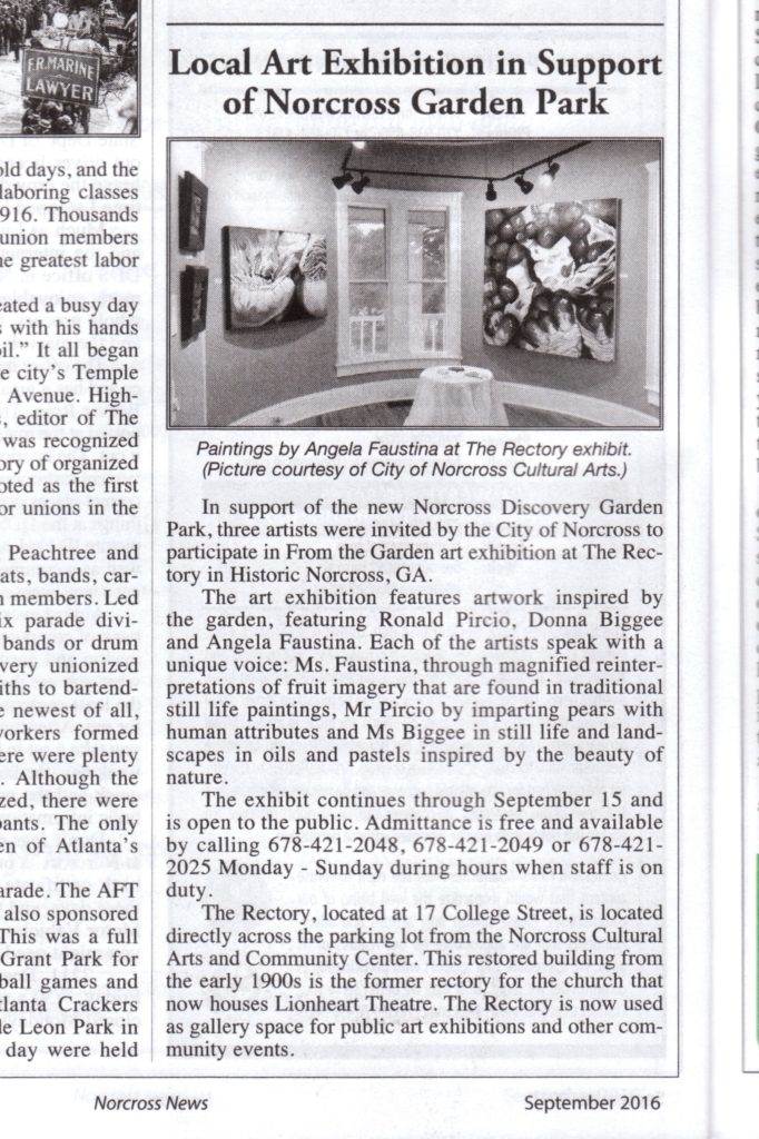 An article about the From the Garden art exhibition in the Norcross News featuring the artwork of Angela Faustina.