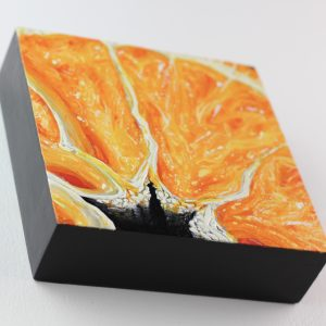 "Angela Faustina, Orange IV, 2017. Oil on cradled painting panel, 6"" by 6""."