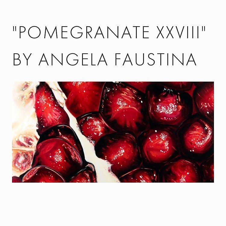 "Angela Faustina, Pomegranate XVIII, 2016. Oil on cradled painting panel, 24"" by 12"". Private Collection."