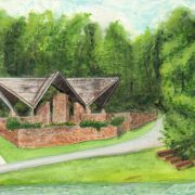 "Angela Faustina, Camp Barney Chapel, 2017. Watercolor on professional watercolor paper, 8"" by 6""."
