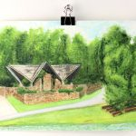 """Angela Faustina, Camp Barney Chapel, 2017. Watercolor on professional watercolor paper, 8"""" by 6""""."""