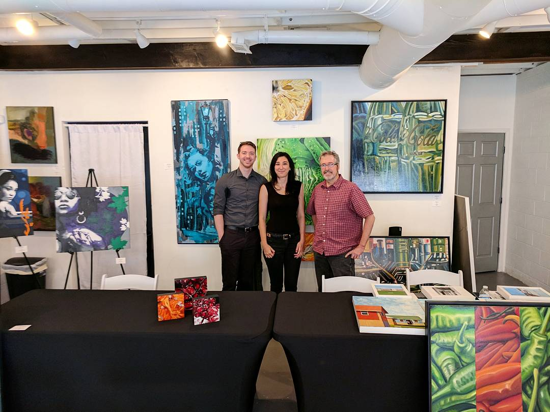 The artists James Gilbert, Angela Faustina, and Craig Ford featured at the BRANDED artist talk at gallery43, Roswell, Georgia, 2017.