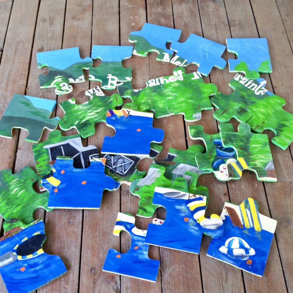 Art project puzzle at Camp Barney Medintz