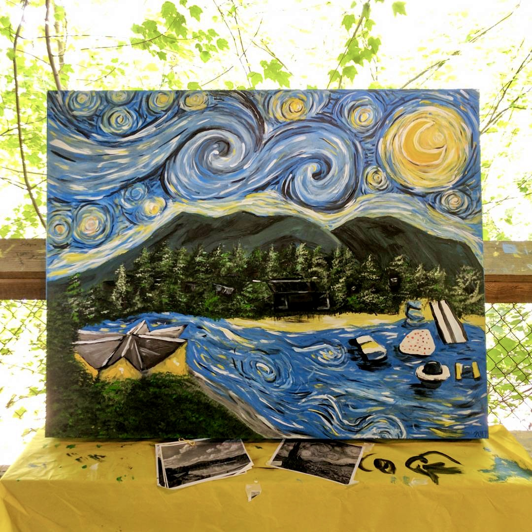 finished Starry Night over Camp Barney painting
