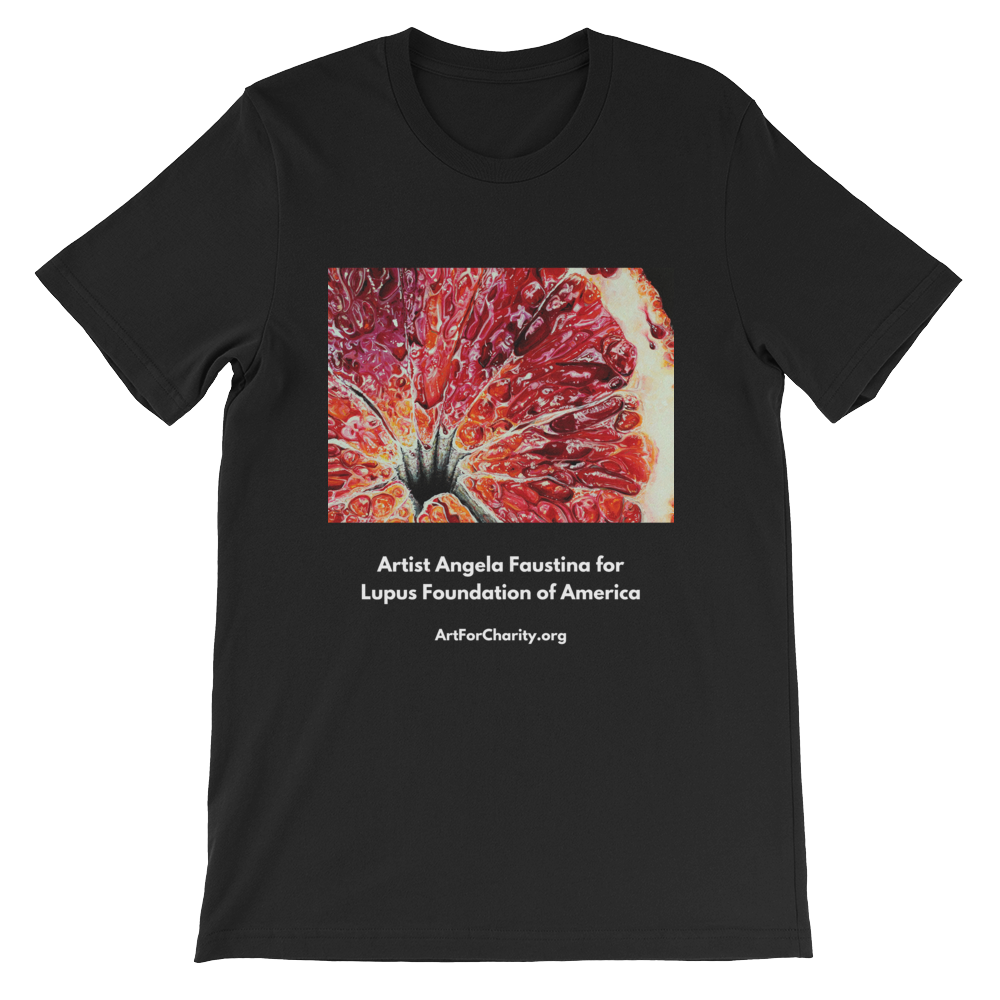 Angela Faustina Blood Orange IV mens t-shirt merchandise for Art for Charity