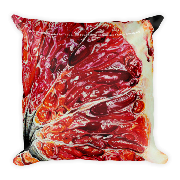Angela Faustina Blood Orange IV pillow merchandise for Art for Charity