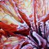 "Angela Faustina, BLOOD ORANGE VI, 2018. Oil on cradled painting panel, 6"" by 6""."