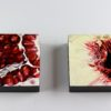 """Angela Faustina, POMEGRANATE XXXIII and PEACH II, 2018. Oil on cradled painting panel, 6"""" by 6""""."""