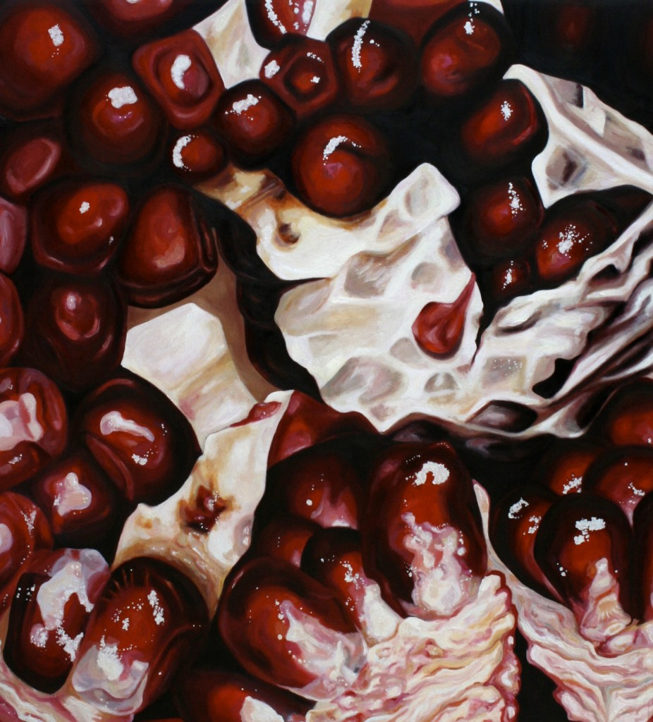 "Angela Faustina, Pomegranate V (73), 2010. Oil on canvas, 60"" by 66"". Large artwork by Angela Faustina, Pomegranate V (73), 2010. Oil on canvas. Reimagining the fruit found in traditional still life paintings. Available for purchase through Gallery43, Roswell, GA."