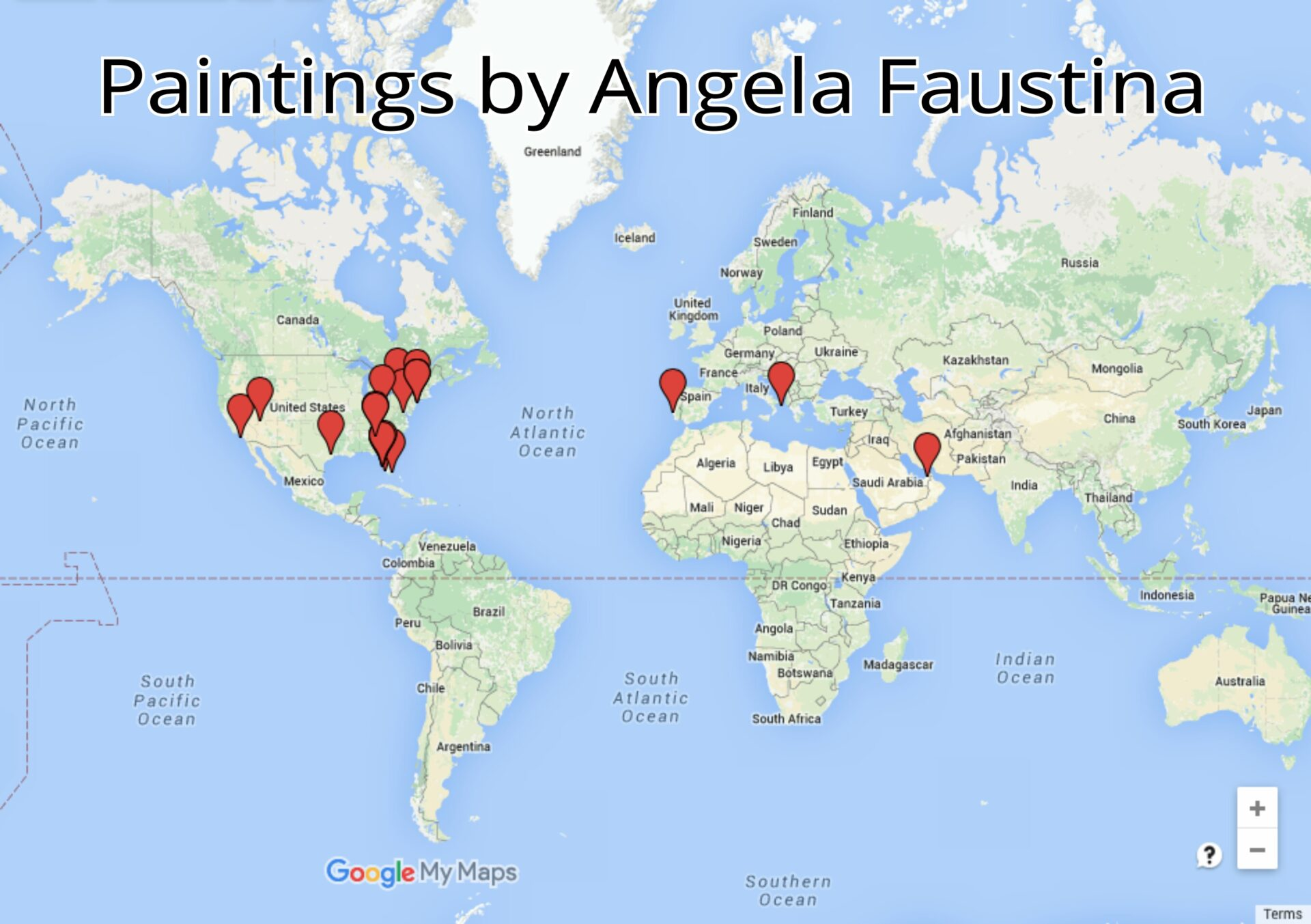 Angela Faustina's artwork sales around the world through 2015