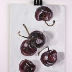 "Angela Faustina, Cherries study, 2016. Oil on canvas panel, 5"" by 7""."