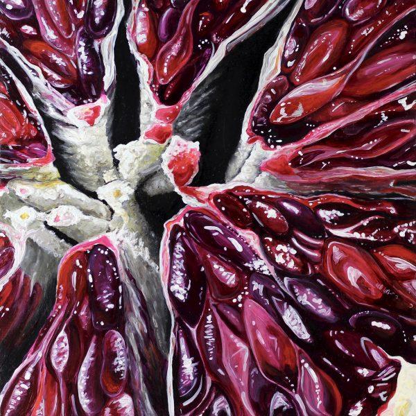"Angela Faustina, Blood Orange III, 2017. Oil on cradled painting panel, 8"" by 8""."