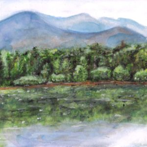 """Angela Faustina, Camp Barney Lake Louis watercolor landscape painting, 2017. Watercolor on paper, 8"""" by 6""""."""