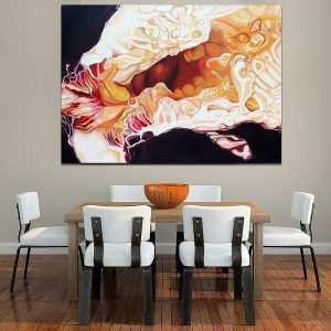 Angela Faustina's oil painting Black Mission Fig I hanging in situ above a dinner table.
