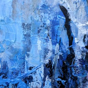 "Angela Faustina, Blue Abstract oil painting, 12"" by 12"""