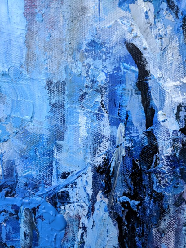 """Angela Faustina, Blue Abstract oil painting, 12"""" by 12"""""""