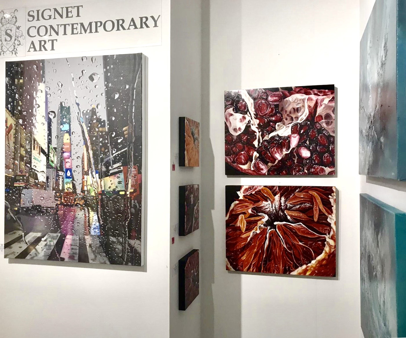Angela Faustina's POMEGRANATE and BLOOD ORANGE oil paintings at Signet Contemporary Art at Affordable Art Fair NYC, New York, 2019