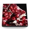 """Painting detail: Angela Faustina, POMEGRANATE XVLII, 2019. Oil on cradled painting panel, 12"""" by 12""""."""