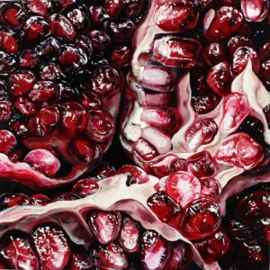 "Angela Faustina, POMEGRANATE XVLIII, 2019. Oil on cradled painting panel, 12"" by 12""."