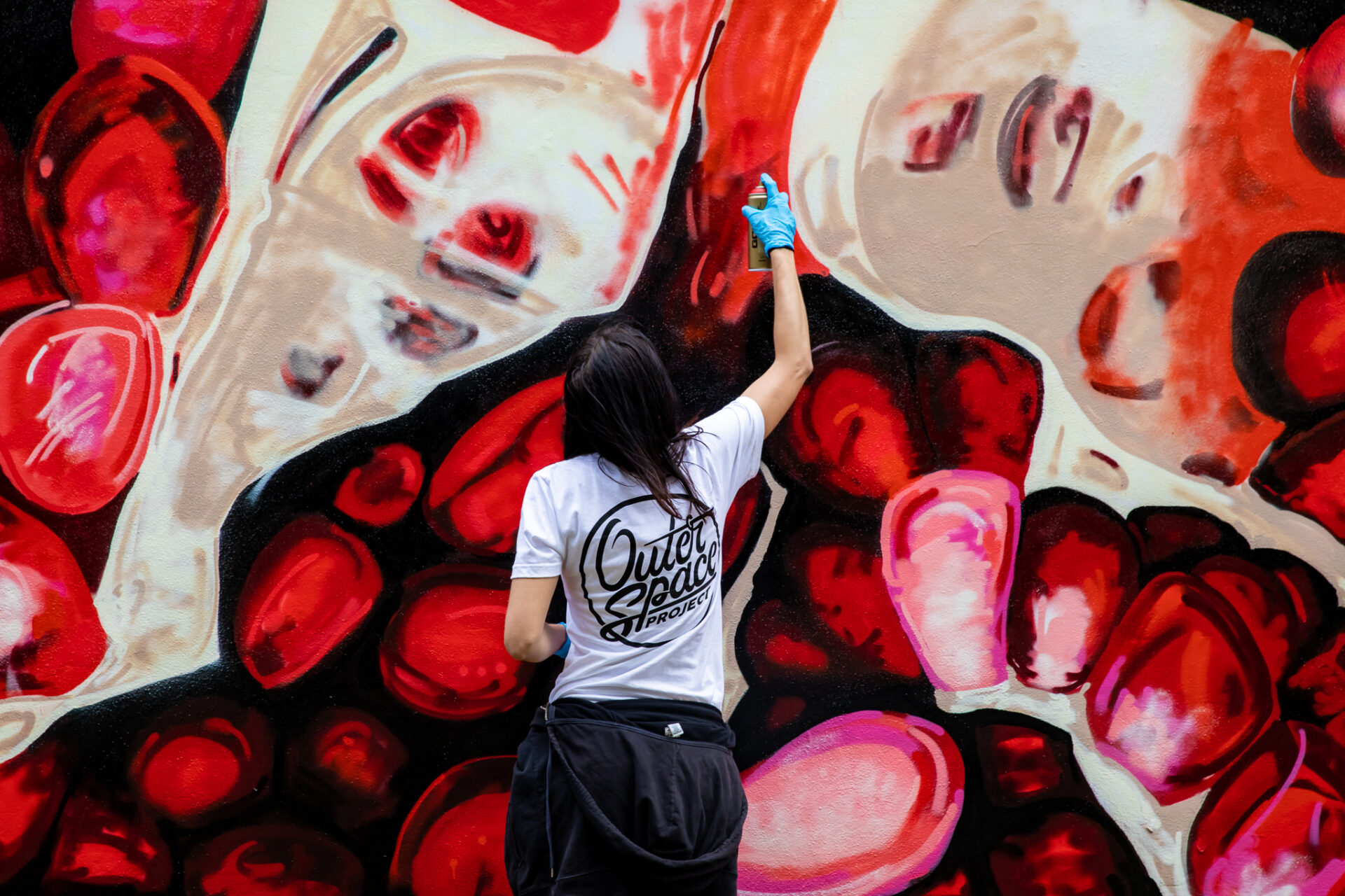 Angela Faustina, POMEGRANATE XLVI mural for OuterSpace Project Mission 5, Atlanta, GA. Photo: DV Photo Video