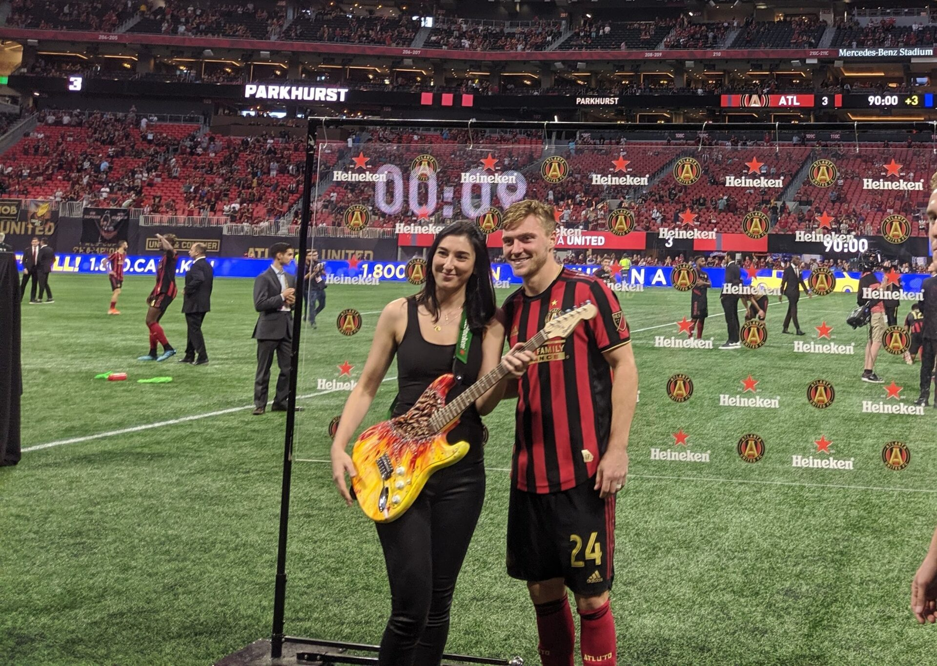 Heineken's Man of the Match custom guitar by Angela Faustina for Atlanta United FC