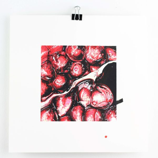 """ORIGINAL ART, Angela Faustina, POMEGRANATE painting, 2020. Acrylic and watercolor paint on bristol board paper, 6"""" by 6""""."""