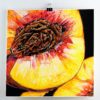 """original art Angela Faustina, PEACH painting, 2020. Acrylic and watercolor paint on bristol board paper, 6"""" by 6""""."""