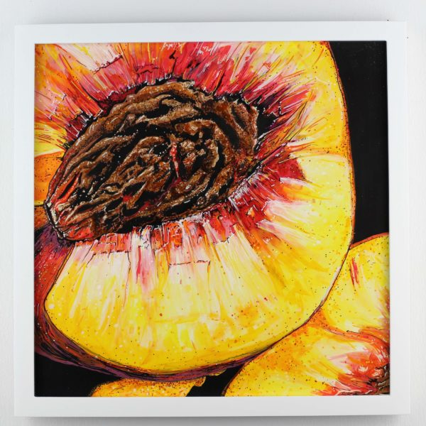 """ORIGINAL ART Angela Faustina, PEACH painting, 2020. Acrylic and watercolor paint on bristol board paper, 12"""" by 12"""". Framed."""
