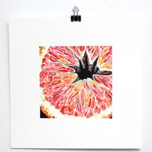 """Angela Faustina, BLOOD ORANGE painting, 2020. Acrylic and watercolor paint on bristol board paper, 6"""" by 6""""."""