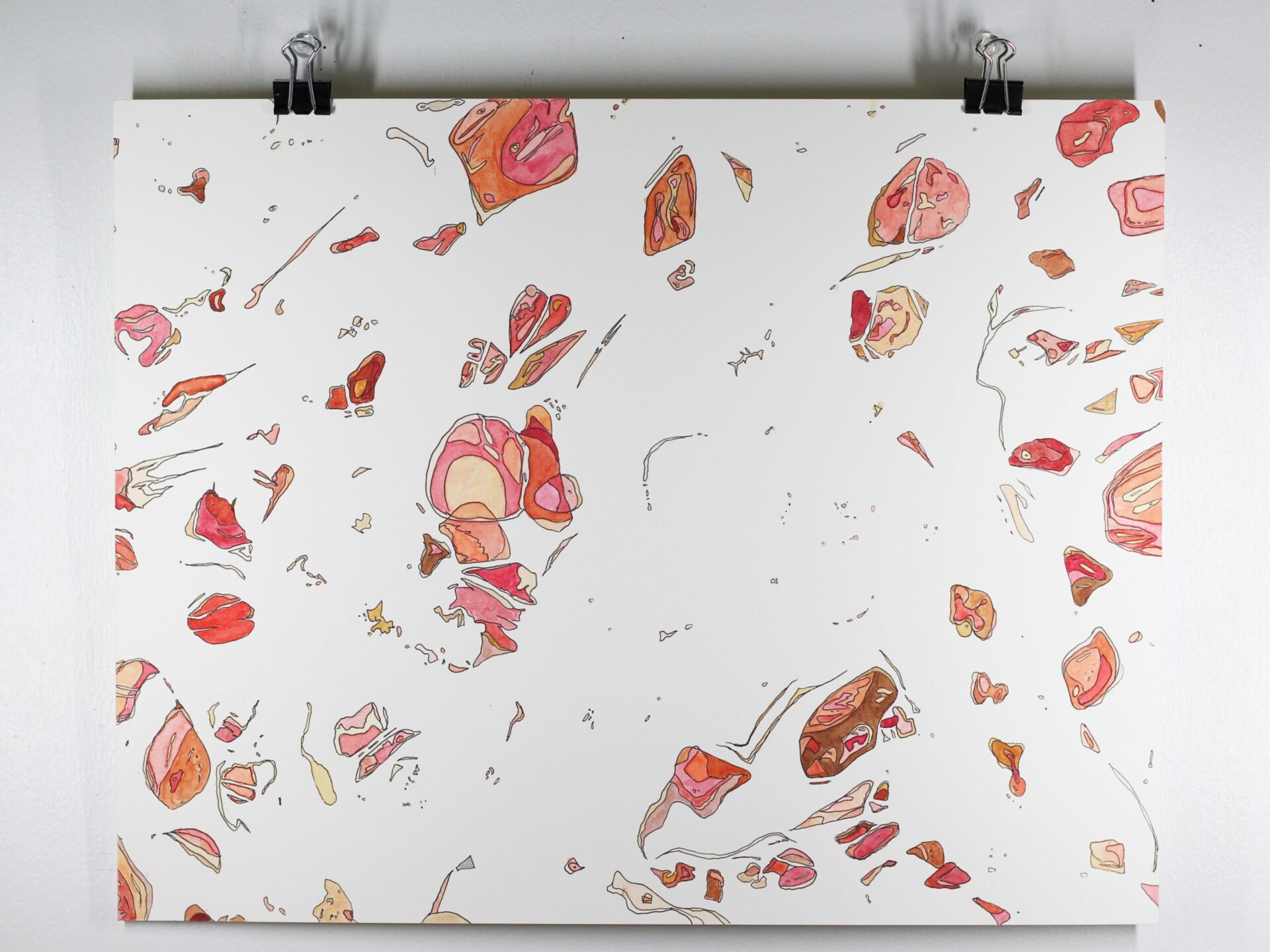 """Angela Faustina, POMEGRANATE segments painting, 2020. Ink and watercolor paint on bristol board paper, 14"""" by 11""""."""