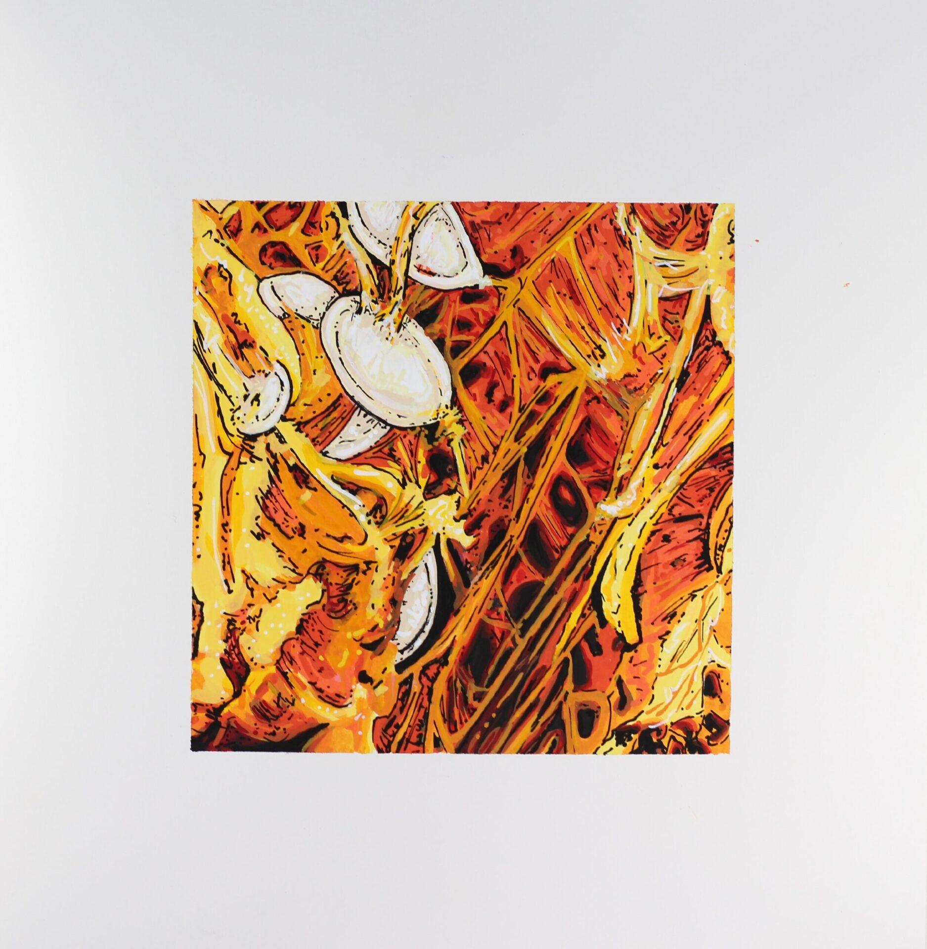 "Angela Faustina, PUMPKIN painting, 2021. Mixed media, 10"" by 10"" total"