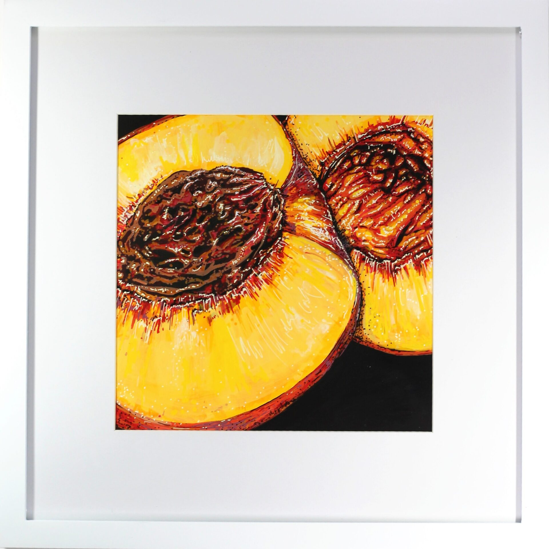 """Angela Faustina, PEACH painting, 2021. Acrylic on bristol board, 8"""" by 8"""" in 10"""" by 10"""" frame."""